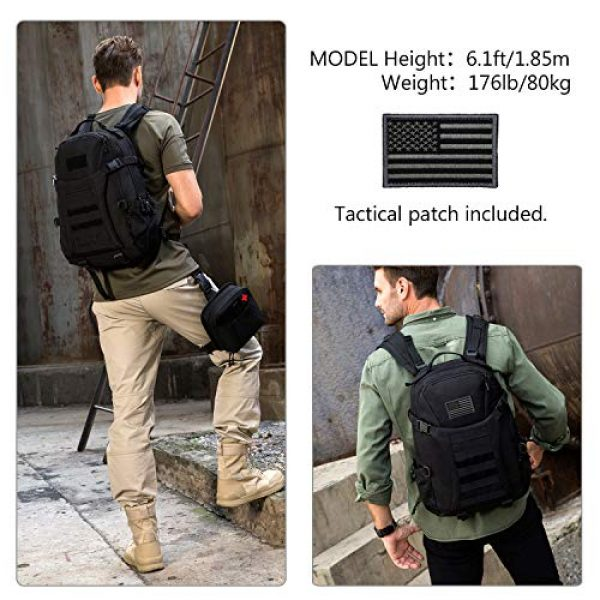 ArcEnCiel Tactical Backpack 2 ArcEnCiel Motorcycle Backpack Tactical Military Molle Gym Badminton Bag with Patch - Rain Cover Included