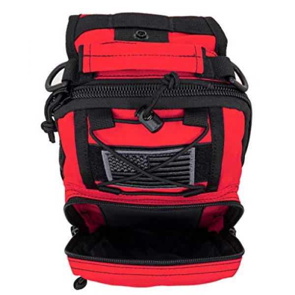 LINE2design Tactical Backpack 2 LINE2design First Aid Sling Backpack - EMS Equipment Emergency Medical Supplies Tactical Range Shoulder Molle Bag - Heavy Duty Sports Outdoor Rescue Pack - Perfect for Camping Hiking Trekking - Red