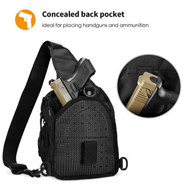 """ProCase Tactical Backpack 4 ProCase Tactical Sling Bag with Pistol Holster Bundle with Tactical Pistol Mag Pouch Molle Pistol Submachine Gun Magazine Bag """"Black"""