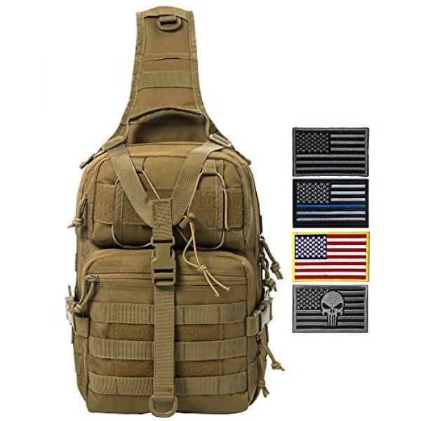 AXEN Tactical Backpack 1 AXEN Tactical EDC Sling Bag Pack, Military Rover Shoulder Molle Backpack, with Flag Patch