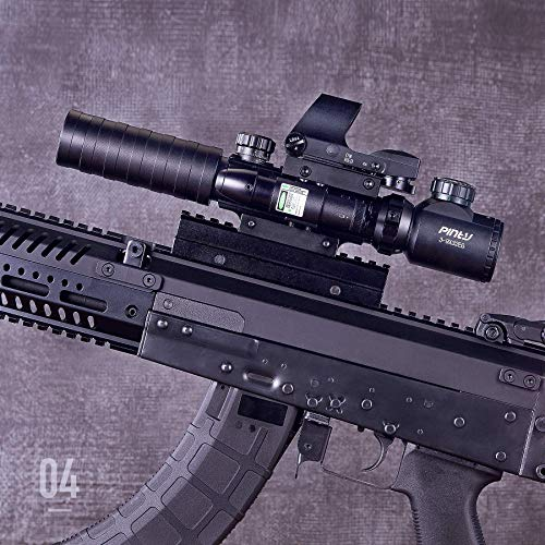 "Pinty Rifle Scope 3 Pinty Rifle Scope 3-9x32 Rangefinder Illuminated Reflex Sight Green Dot Laser Sight & 17""x11"" Handgun Cleaning Mat Detailed Pistol Diagram"