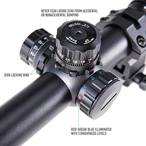 Pinty Rifle Scope 3 Pinty 4-16X40 Rifle Scope AO Red Green Blue Illuminated Mil Dot with Flip-Open Covers, Sunshade Tube