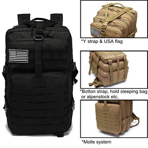 VooDoo Tactical Tactical Backpack 5 Military Tactical Assault Backpack Army MOLLE Rucksack, 3 Day Pack,for Outdoor Hiking Camping Trekking Hunting (Black)