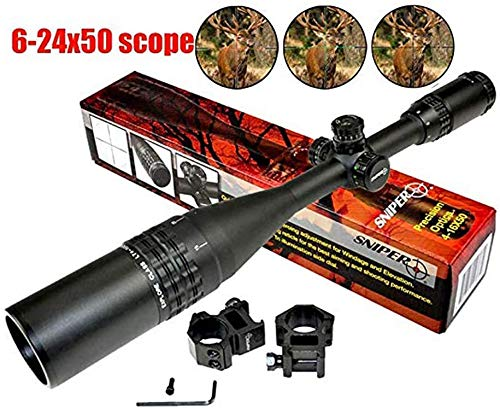 Sniper Rifle Scope 2 Sniper Side Wheel Red/Green/Blue Illumination Scope 6-24x50 with Quick Lock and Zero W/E Adjustment, Comes with Heavy Duty Ring and Flip-Open Lens Cover and Front AO