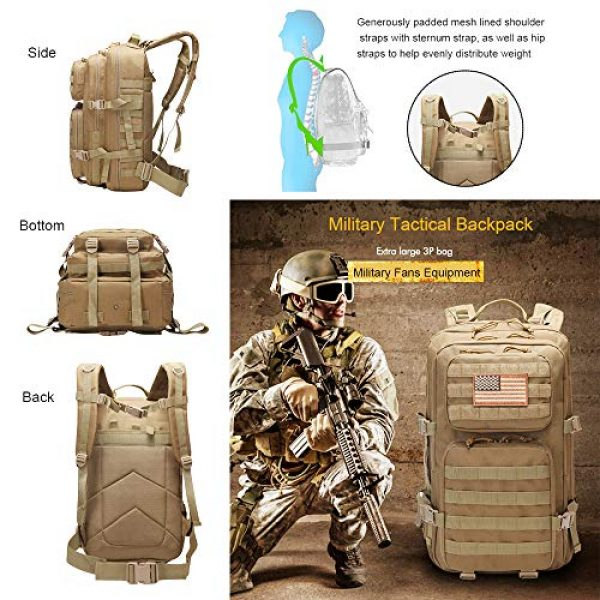 Suoki Tactical Backpack 3 Suoki 45L Molle Rucksack Outdoor Bug Out Bag Hiking Camping Backpack for Men Women
