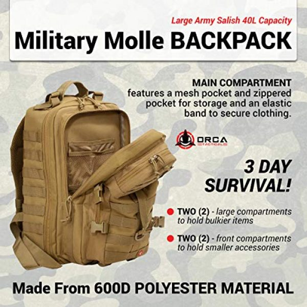 Orca Tactical Tactical Backpack 3 Orca Tactical Backpack 40L Large Military 1 to 3 Day Molle Assault Pack Rucksack Army Bag