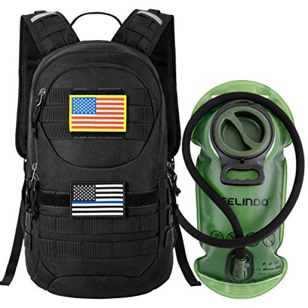 Gelindo Tactical Backpack 1 Gelindo Tactical Hydration Backpack, Military Lightweight Backpacks MOLLE Pack 900D with 2L Hydration Bladder, Small Tactical Assault Pack for Hiking Biking Running Climbing Outdoor Travel