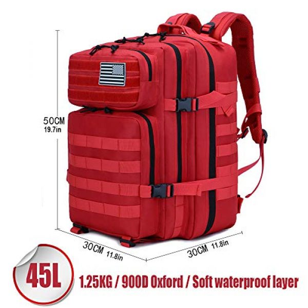 LHI Tactical Backpack 2 LHI Military Tactical Backpack for Men and Women 45L Army 3 Days Assault Pack Bag Large Rucksack with Molle System - Red