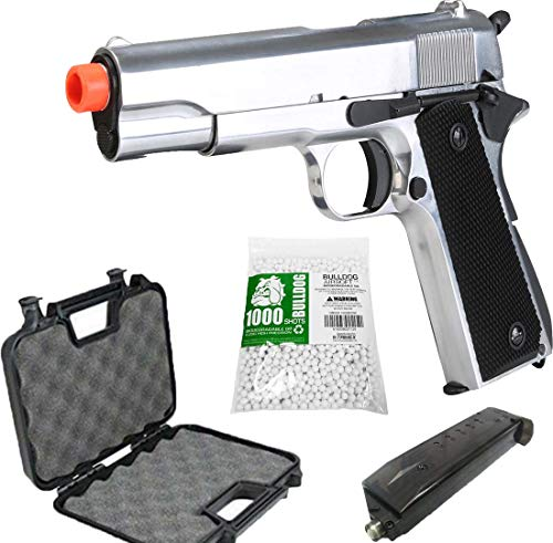 BULLDOG AIRSOFT Airsoft Pistol 1 SR1911 Airsoft Gas Pistol with Free Speed Loader BBS and Gun Case [Airsoft Blowback]