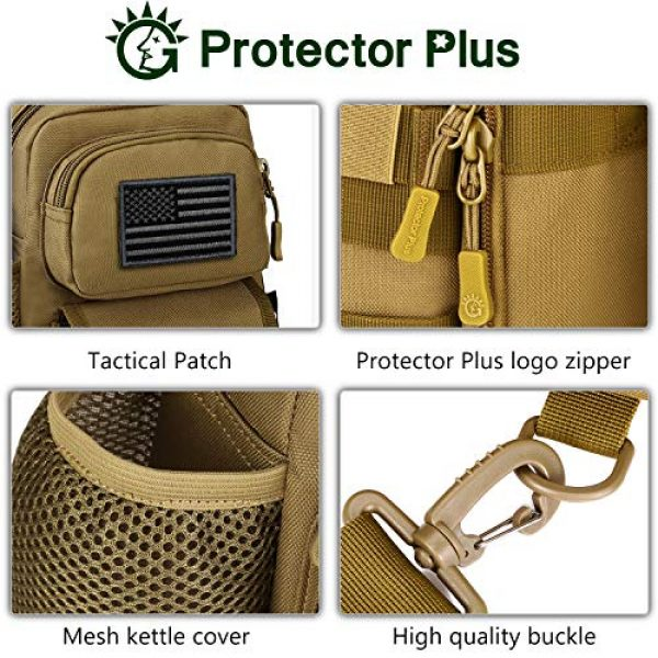 Protector Plus Tactical Backpack 7 Protector Plus Tactical Sling Bag Military MOLLE Crossbody Pack Chest Shoulder Backpack with Water Bottle Holder Pouch EDC Diaper Motorcycle Daypack (Patch Included)