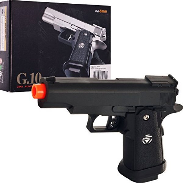SPRING AIRSOFT GUN Airsoft Pistol 2 spring airsoft gun g.10 zinc alloy shell heavy duty metal pistol with free 1000 bb's bullets ammo(Airsoft Gun)