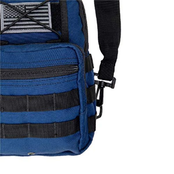 LINE2design Tactical Backpack 7 LINE2design First Aid Sling Backpack - EMS Equipment Emergency Medical Supplies Tactical Range Shoulder Molle Bag - Heavy Duty Sports Outdoor Rescue Pack - Perfect for Camping Hiking Trekking - Navy