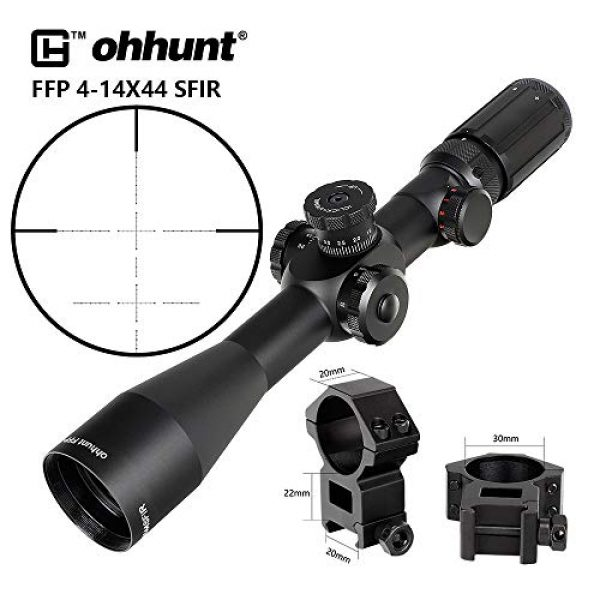 ohhunt Rifle Scope 6 ohhunt FFP Rifle Scopes 4-14X44 SFIR First Focal Plane Side Parallax Glass Etched Reticle RG Illuminated Hunting Scope