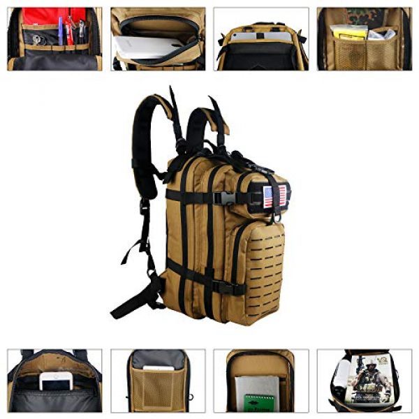 Warriors Product Tactical Backpack 4 Warriors Product Small Assault Backpack Military Tactical Backpack Bag with Flag Patch for Outdoor,Hiking, Camping Travel