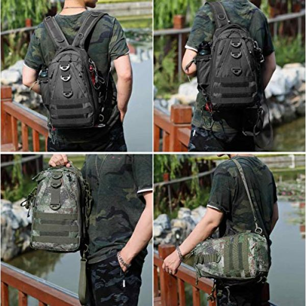 DOUN Tactical Backpack 7 DOUNto Tactical Sling Backpack, EDC Molle Sling Bag Military Daypack Backpack Outdoor Range Bags