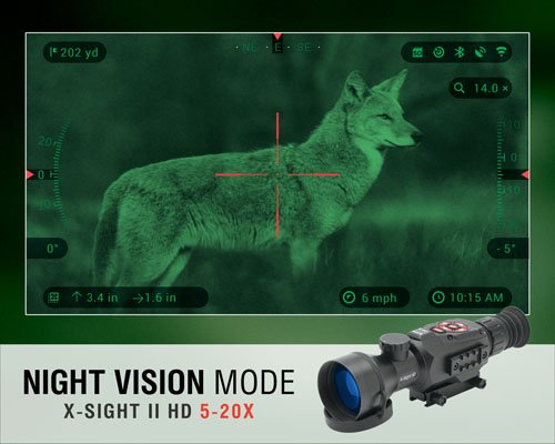 ATN Rifle Scope 2 ATN X-Sight II HD 5-20 Smart Day/Night Rifle Scope w/1080p Video, Ballistic Calculator, Rangefinder, WiFi, E-Compass, GPS, Barometer, IOS & Android Apps
