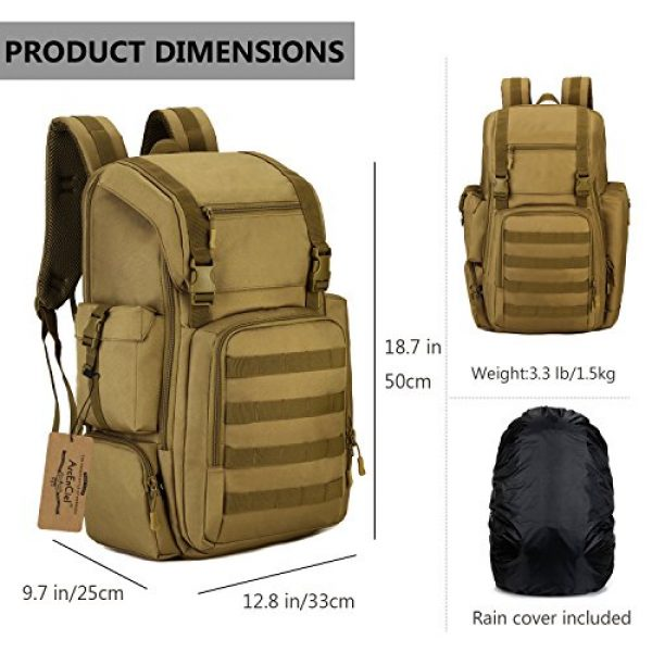 ArcEnCiel Tactical Backpack 3 ArcEnCiel Tactical Backpack Military Army Shoes Bags Daypack Assault Pack Bug Out Bag Molle Rucksack - Rain Cover Included