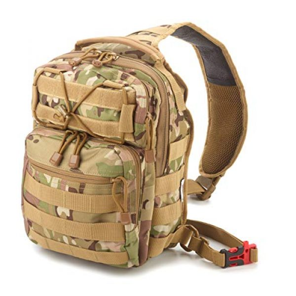 EverTac Tactical Backpack 1 Small Tactical Shoulder Sling Pack w/Molle EDC (CP MultiCam)