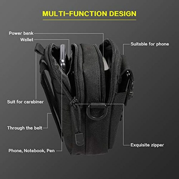 Camyse Tactical Backpack 6 Camyse Outdoor Tactical Waist Bag EDC Molle Belt Waist Pouch Security Purse Phone Carrying Case for iPhone 8 Plus Galaxy Note 9 S9 Or Less Than 6.2 inches Smartphone