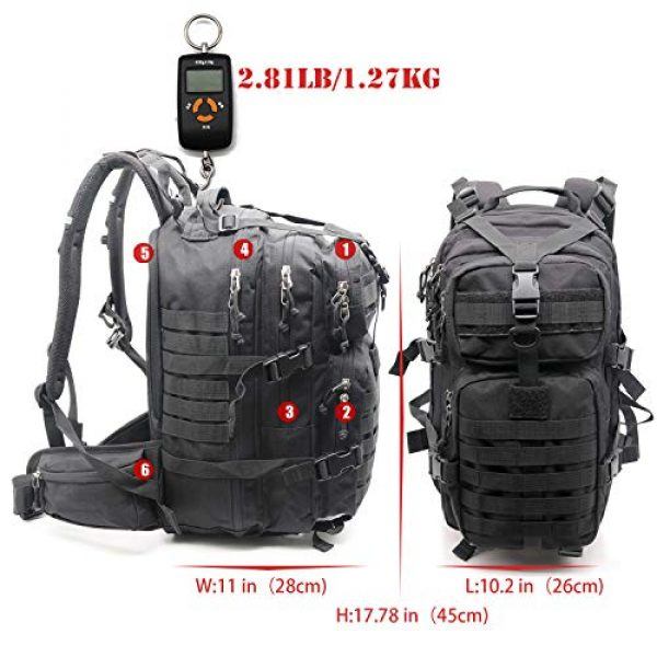 yoson.k Tactical Backpack 2 Tactical Backpack Military Army Molle Bag Black Small School Bookbag for Men Hiking Fishing Outdoor Survival