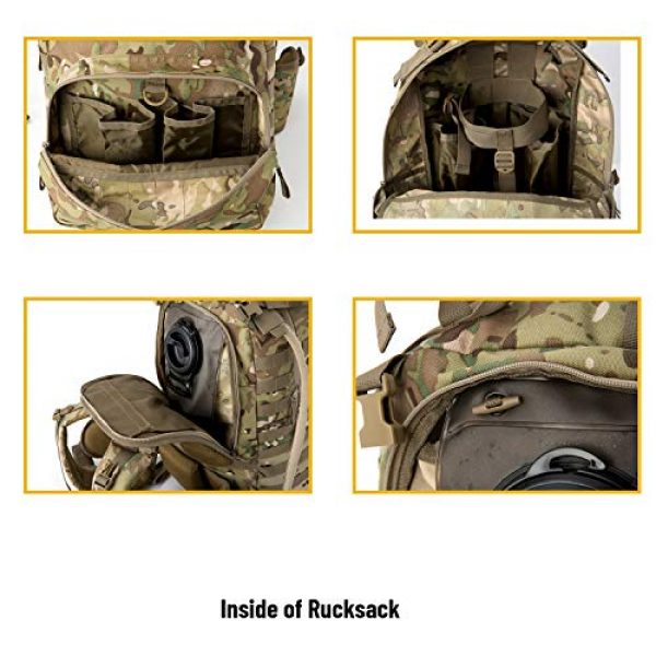 MT Tactical Backpack 5 MT Military MOLLE Medium Rucksack Hydration System Attached with IFAK Pouch and Assault Pack