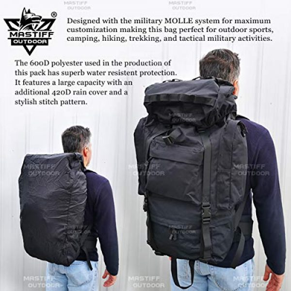 Mastiff Outdoor Tactical Backpack 6 Mastiff Outdoor Adventure Rucksack MOLLE Hiking Camping Gear Travel Survival Functional Backpack
