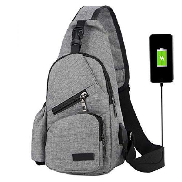 ChangYou Tactical Backpack 1 ChangYou Sling Bag Chest Backpack with USB Charging Port Polyester Shoulder Bag for Outdoor Sports Travel