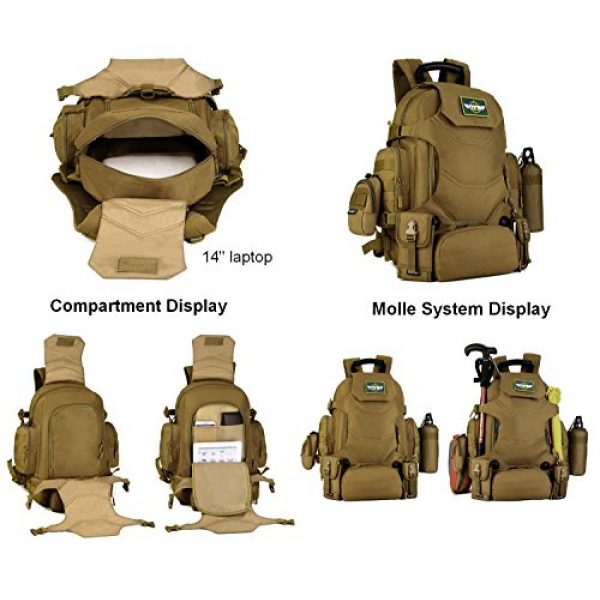 Huntvp Tactical Backpack 3 Huntvp 40L Tactical Military MOLLE Backpack WR 3 Way Modular Pack with Patch