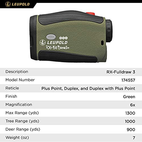 Leupold Rifle Scope 5 Leupold RX-FullDraw 3 Laser Rangefinder, Green, 6x (174557)