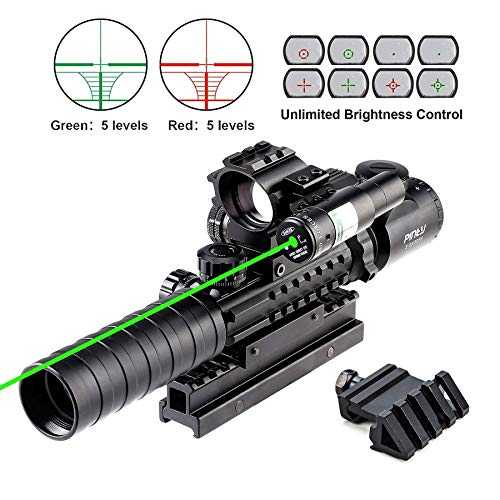 Pinty Rifle Scope 1 Pinty Rifle Scope 3-9x32 Rangefinder Illuminated Optics Red Green Reflex 4 Reticle Sight Green Dot Laser Sight with 14 Slots 1 inch High Riser Mount,45 Degree Mount