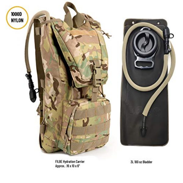 MT Tactical Backpack 3 MT Military FILBE Hydration Carrier Army Tactical Backpack with Bladder Multicam