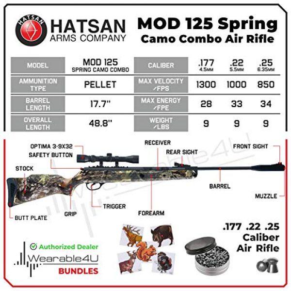 Wearable4U Air Rifle 3 Hatsan Mod 125 Spring Camo Combo Air Rifle with Wearable4U Paper Targets and Lead Pellets Bundle