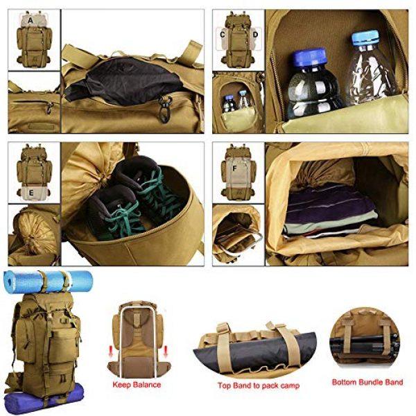 Suoki Tactical Backpack 5 Molle Backpack 65L Waterproof Internal-Frame Hiking Camping Rucksacks With Rain Cover