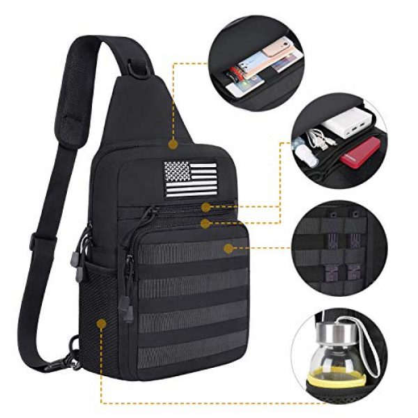 MOSISO Tactical Backpack 2 MOSISO Tactical Sling Backpack, Small Chest Shoulder Bag Military Army Assault Molle Rucksack for Outdoor Sports Hiking Hunting Fishing Camping Training with USA Flag Patch & Side Bottle Holder, Black