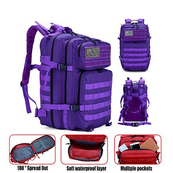 LHI Tactical Backpack 4 LHI Military Tactical Backpack for Men and Women 45L Army 3 Days Assault Pack Bag Large Rucksack with Molle System - Purple