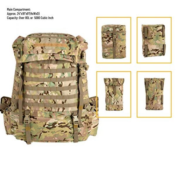 MT Tactical Backpack 3 MT Assembly Military Rucksack Tactical Assault Backpack Hydration Pack System with Frame and Hip Belt Multicam