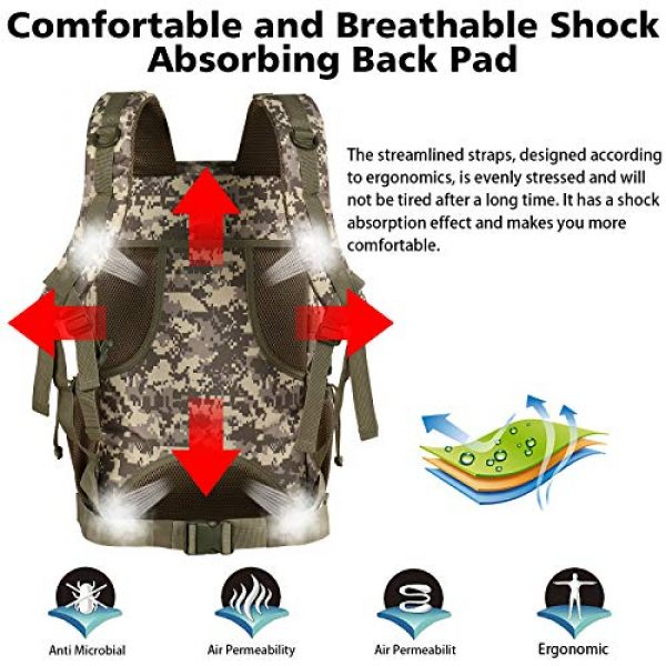 YOREPEK Tactical Backpack 4 Military Tactical Backpack 42L Large Army Rucksack 3 Day Assualt Pack Molle Bag