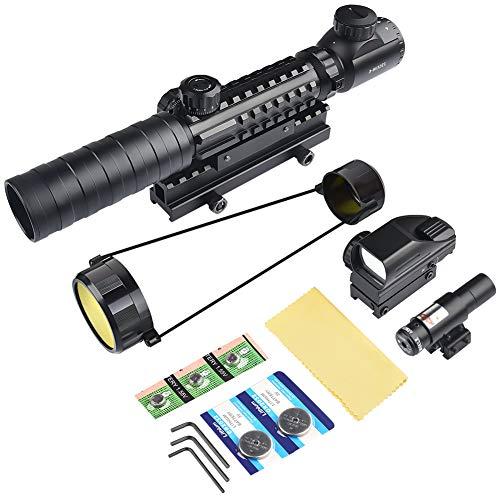 MidTen Rifle Scope 7 MidTen 3-9x32 Tactical Rifle Scope Dual Illuminated Optics & Rangefinder Illuminated Reflex Sight 4 Holographic Reticle Red/Green Dot Sight & IIIA/2MW Laser Sight(Red)
