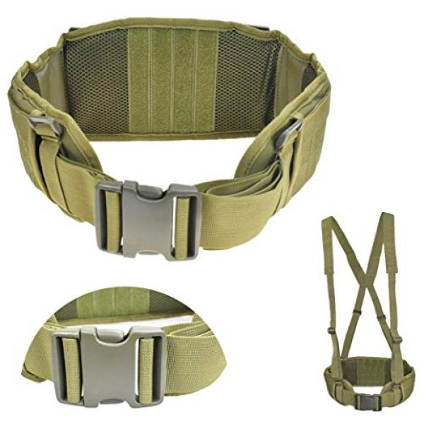 JFFCE Tactical Belt 1 JFFCE Tactical MOLLE Battle Belt Waist Belt with X-Shaped Suspenders Adjustable Combat Duty Belt Removable Harness