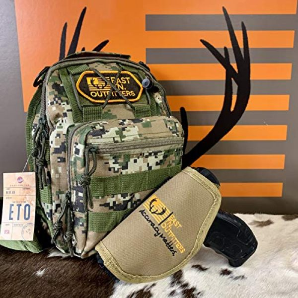 EAST TN. OUTFITTERS ACCURACY MATTERS Tactical Backpack 1 East TN. Outfitters Tactical Sling Bag with Holster Conceal Carry Shoulder Mens Bible Diaper Pack EDC Hunting Fishing Hiking