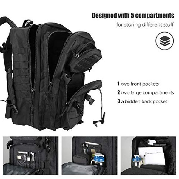 ProCase Tactical Backpack 4 ProCase Tactical Backpack 42L Large Rucksack 3 Day Outdoor Military Army Assault Pack Go Bag Backpacks -Black