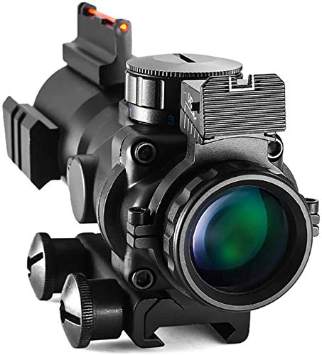 TTHU Rifle Scope 5 TTHU Rifle Scope 4X32 Tactical Rifle Scope Red & Green &Blue Illuminated Reticle Scope with Fiber Optic Sight for Hunting