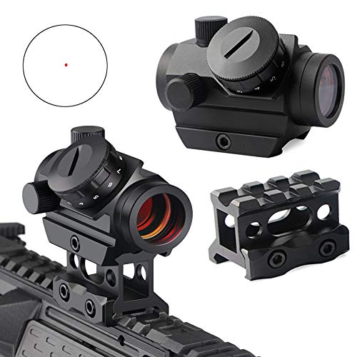 """QILU Rifle Scope 1 QILU 1x25mm Tactical Red Dot Sight, with 1 Inch High Mount Compact Red Dot Scope 1"""" Riser Mount for Cowitness with Iron Sights Waterproof and Shockproof"""