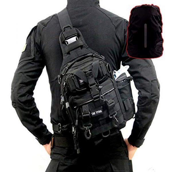 TAK YIYING Tactical Backpack 6 Tactical Sling Backpack Waterproof Shoulder Bag With Waterproof Rainproof Backpack Pack Cover (Black)