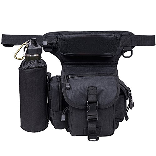 A.B Crew Tactical Backpack 1 A.B Crew Waterproof Tactical Drop Leg Bag with Water Bottle Pouch Motorcycle Hiking Cycling Thigh Pack Waist Belt