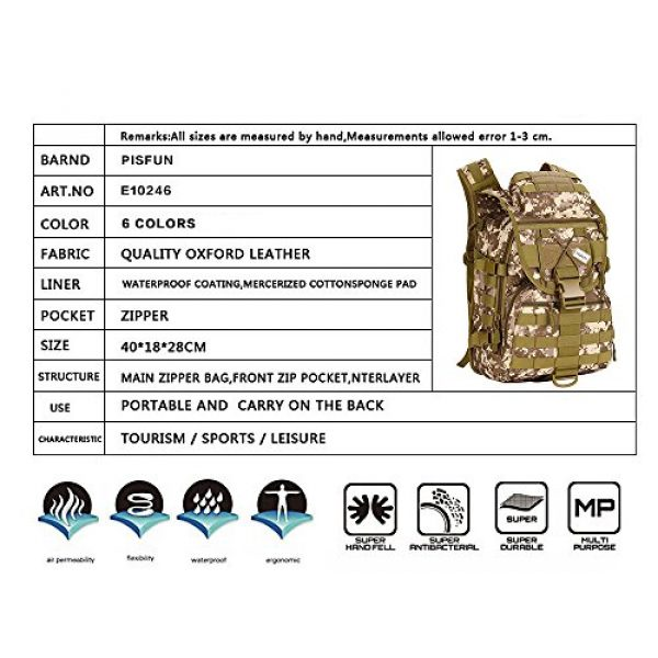 Pisfun Tactical Backpack 4 Pisfun Tactical Backpack 40L Camping Bags Waterproof Molle System Backpack Military 3P Tad Assault Travel Bag for Men Cordura