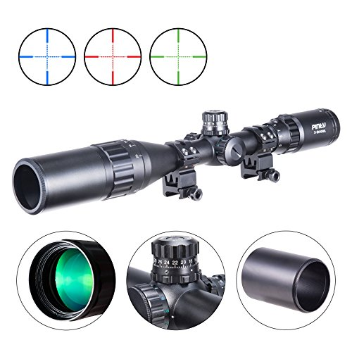 Pinty Rifle Scope 1 Pinty 3-9X40 Rifle Scope AO Red Green Blue Illuminated Mil Dot with Flip-Open Covers, Sunshade Tube