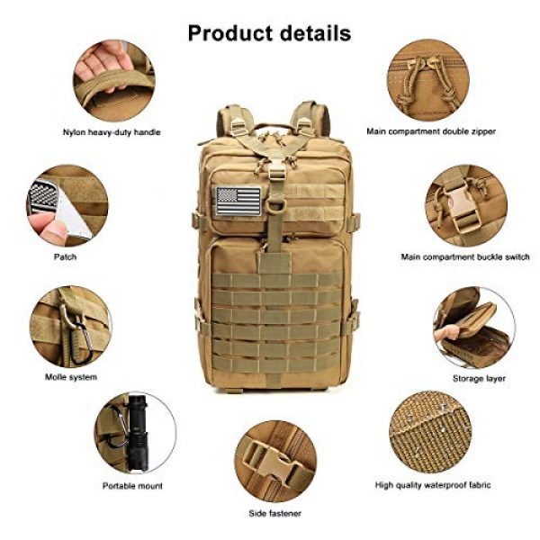 ROARING FIRE Tactical Backpack 3 ROARING FIRE Tactical Backpack, Army Assault Pack, Molle Backpack for The 3 Day Pack, Bug Out Bag 45L