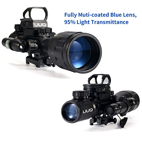 UUQ Rifle Scope 3 UUQ 4-16x50 AO Rifle Scope Red/Green Illuminated Range Finder Reticle W/Green Laser - Holographic Reflex Red Dot Sight - 5 Brightness Modes Flashlight