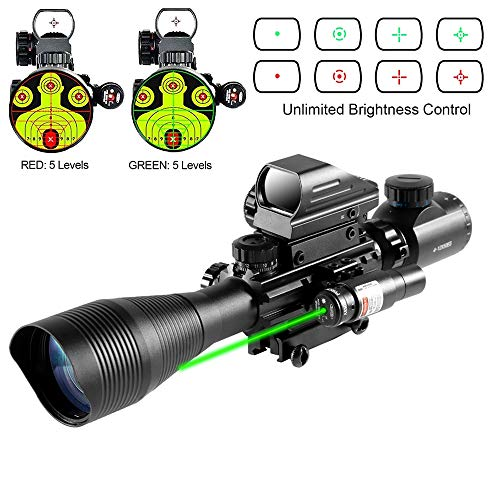 HIMIFOY Rifle Scope 6 HIMIFOY 4-12X50 EG Tactical Rifle Scope Dual Illuminated Optics & Rangefinder Illuminated Reflex Sight 4 Holographic Reticle Red/Green Dot Sight & IIIA/2MW Laser Sight(Green)